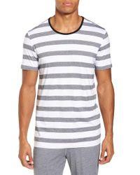 Daniel Buchler White Stripe Crewneck Pima Cotton & Modal T-shirt for men