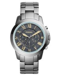 Fossil | Gray 'grant' Chronograph Bracelet Watch for Men | Lyst