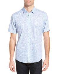 Zachary Prell - Blue Defazio Leaf Print Short Sleeve Sport Shirt for Men - Lyst