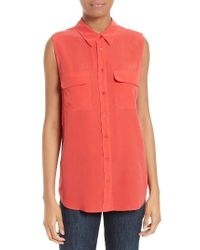 Equipment | Red 'slim Signature' Sleeveless Silk Shirt | Lyst