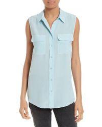 Equipment | Multicolor 'slim Signature' Sleeveless Silk Shirt | Lyst