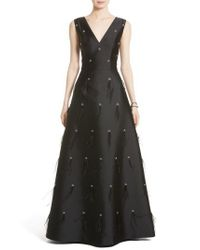 St. John Black St. John Collection Hand Beaded Mikado Gown