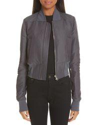Rick Owens Gray Cotton & Silk Bomber Jacket