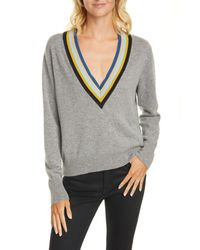 Veronica Beard Gray Jessel Merino Wool & Cashmere Tennis Sweater