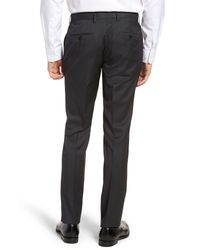 BOSS Gray Gibson Cyl Flat Front Solid Slim Fit Wool Dress Pants for men