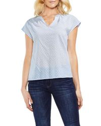 Vince Camuto Blue Floral Embroidered Top