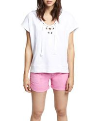 Sanctuary White Beachcomber Lace-up Cotton Short Sleeve Hoodie