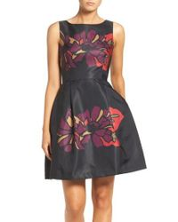 Taylor Dresses - Blue Placed Floral Fit & Flare Dress - Lyst