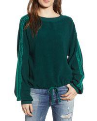Pam & Gela - Green Cropped Sweatshirt With Velvet Stripes - Lyst
