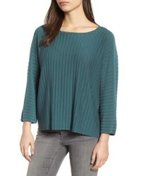 Eileen Fisher - Green Ribbed Bateau Neck Sweater - Lyst