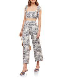 Reformation Multicolor Tiki Print Tie Shoulder Two-piece Jumpsuit
