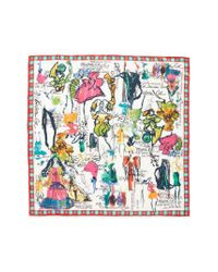 Christian Lacroix | White Croquis Silk Square Scarf | Lyst