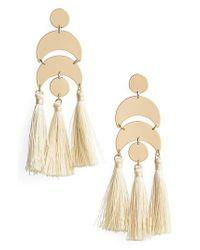 TOPSHOP - Metallic Metal & Tassel Drop Earrings - Lyst