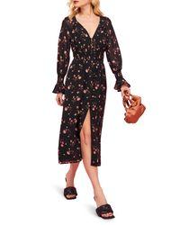 Reformation Black Fia Floral Long Sleeve Midi Dress