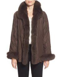 George Simonton - Brown Reversible Silk & Genuine Fox Fur Topper - Lyst