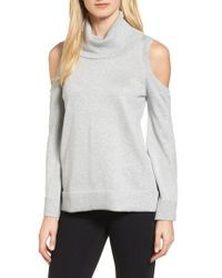 Chaus - Gray Metallic Cold Shoulder Cowl Neck Sweater - Lyst