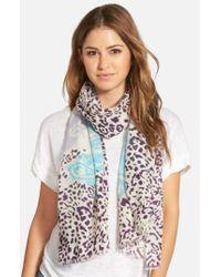 La Fiorentina | Blue Mixed Print Wool Scarf | Lyst