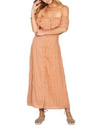 Amuse Society - Orange Roundabout Off The Shoulder Dress - Lyst