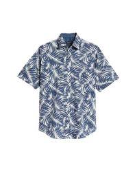 Bugatchi Blue Indigo Palms Classic Fit Sport Shirt for men