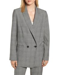 Rebecca Minkoff Gray Maurina Glen Plaid Double Breasted Jacket