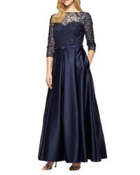 Alex Evenings | Blue Embellished Lace & Satin Ballgown | Lyst