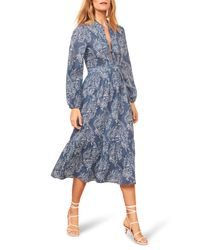 Reformation Blue Delilah Long Sleeve Organic Cotton Dress