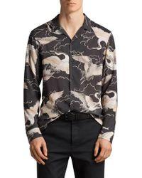 AllSaints - Black Romanji Slim Fit Sport Shirt for Men - Lyst