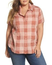 Lucky Brand - Pink Plaid Short Sleeve Top - Lyst