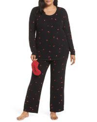 Make + Model - Black Knit Pajamas & Sleep Mask - Lyst