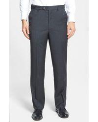 Berle | Gray Self Sizer Waist Flat Front Wool Trousers for Men | Lyst