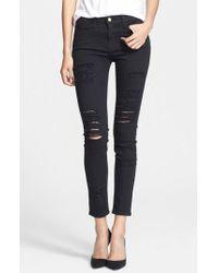 FRAME White Le Color Rip Skinny Jeans