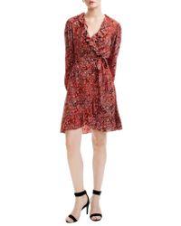 Maje Red Rosetto Leopard Ruffle Wrap Dress