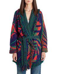 Alanui Multicolor Jungle Foliage Jacquard Cotton & Wool Cardigan