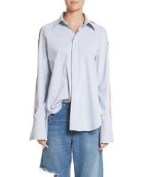 Monse Blue Snap Sleeve Shirt
