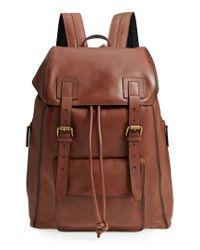 John Varvatos Brown Heritage Leather Backpack - for men