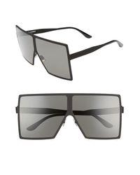 Saint Laurent Black Betty 68mm Metal Shield Sunglasses
