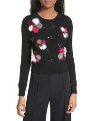 MILLY - Black Beaded Wool Sweater With Genuine Rabbit Fur Trim - Lyst