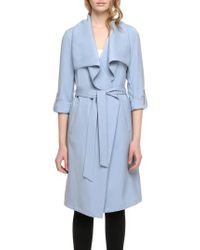 SOIA & KYO - Blue Roll Sleeve Drape Front Long Trench Coat - Lyst