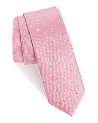 1901 Pink Mawbly Mini Skinny Silk Tie for men