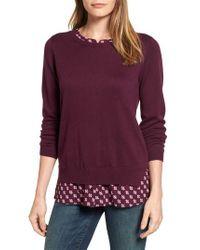 NYDJ - Purple Layered Look Sweater - Lyst