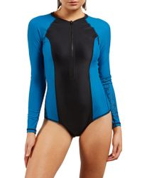 Volcom - Blue Simply Solid Long Sleeve One-piece Swimsuit - Lyst