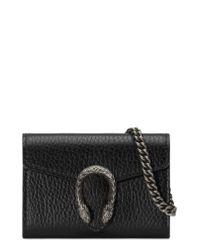 Gucci Black Dionysus Calfskin Leather Coin Purse On A Chain