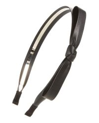 Cara | Black Faux Leather Bow Headband | Lyst