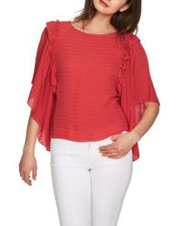1.STATE Multicolor Ruffle Batwing Sleeve Blouse