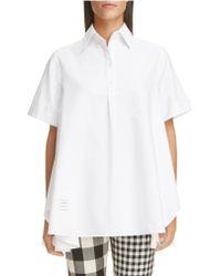 Thom Browne White Oversized Oxford Shirt