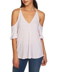 1.STATE - Purple Cold Shoulder Top - Lyst