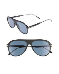 Tom Ford Black Nicholai 57mm Polarized Sunglasses