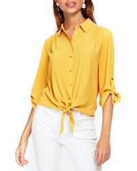 Wallis Yellow Tie Front Shirt