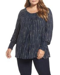 Lucky Brand - Blue Print Peasant Top - Lyst