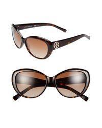 Tory Burch Brown 56mm Cat Eye Sunglasses